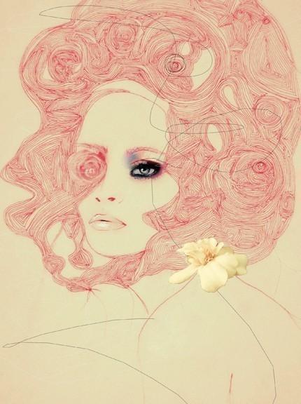 Gorgeous feminine and romantic illustration.