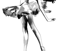 Black and White illustration of a ballerina is perfect to use in almost any space - from the bedroom to the living room.